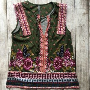 Anthropologie Embroidered Boho Top Womens Small